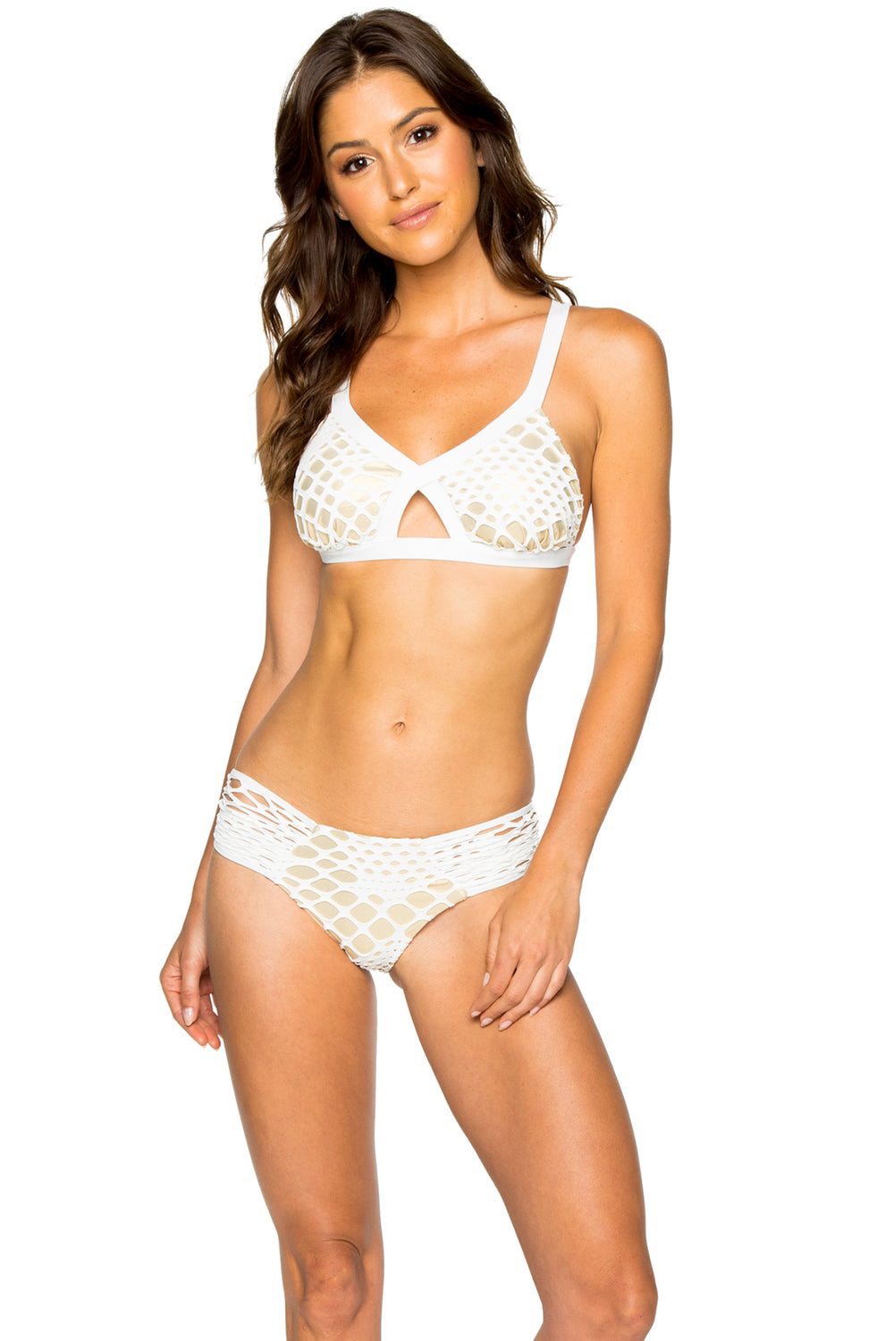 LA CABAÑA - Cross Front Cut Out Top & Scrunch Ruched Back Brazilian Bottom • Off White