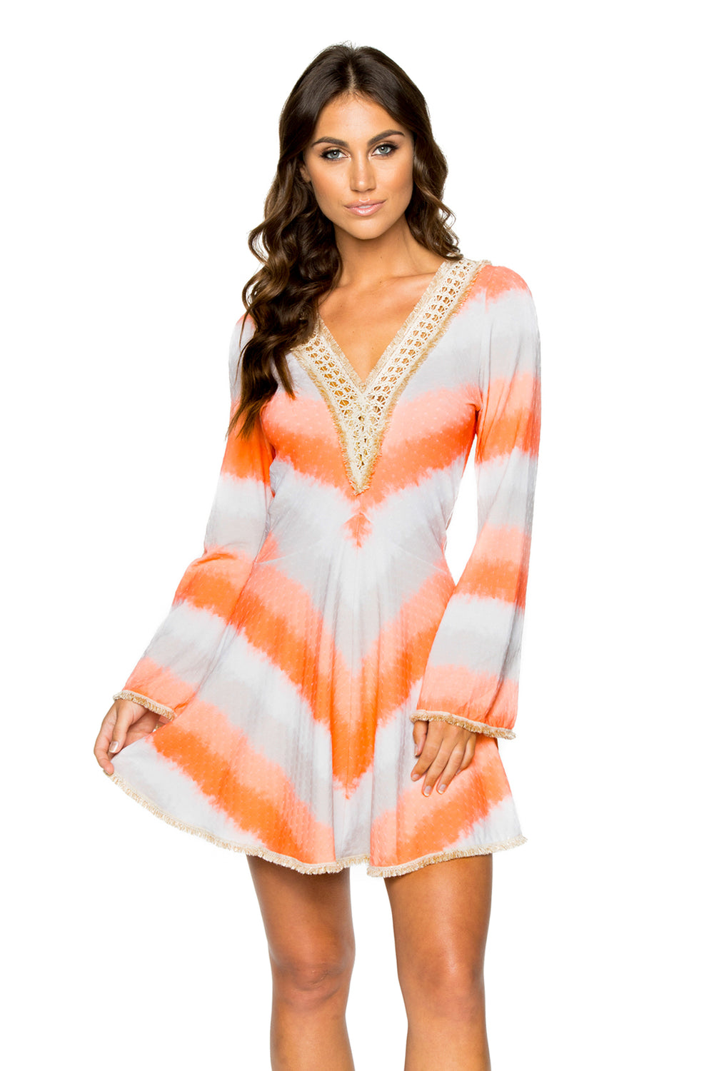 LOS FLAMENCOS - Deep Plunge Dress • Multicolor