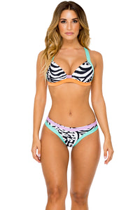 CAYO SETIA - Molded Push Up Bandeau Halter Top & Seamless Full Ruched Back Bottom • Multicolor