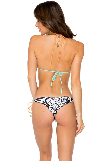 CAYO SETIA - Triangle Top & Wavey Ruched Back Brazilian Tie Side Bottom • Multicolor