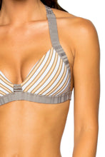 TORRE DE ORO - Molded Push Up Bandeau Halter Top & Full Bottom • Multicolor