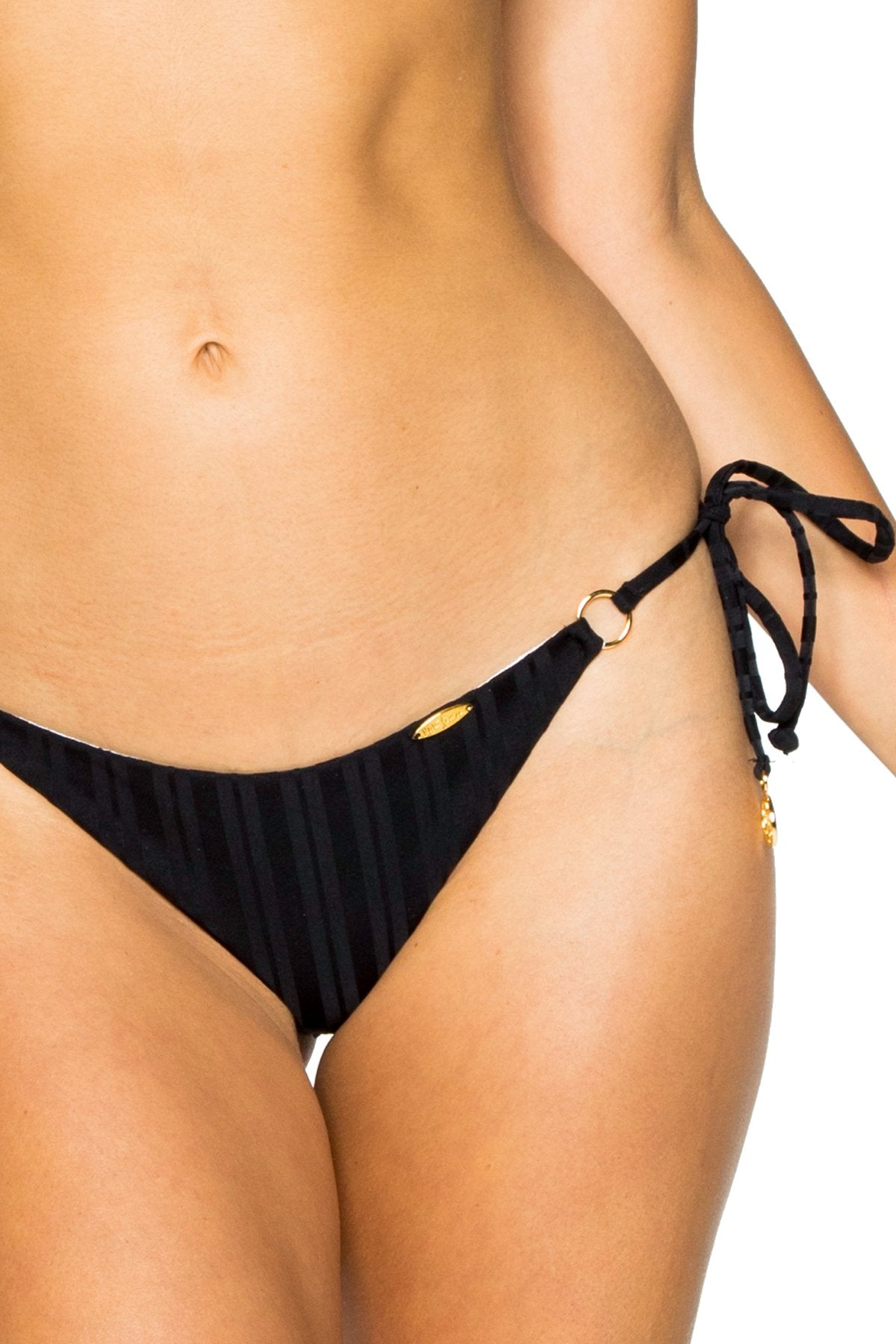 TURI TURAI - Triangle Top & Wavey Ruched Back Brazilian Tie Side Bottom • Black