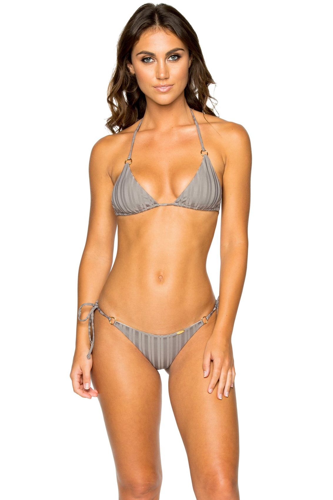 TURI TURAI - Triangle Top & Wavey Ruched Back Brazilian Tie Side Bottom • Grey