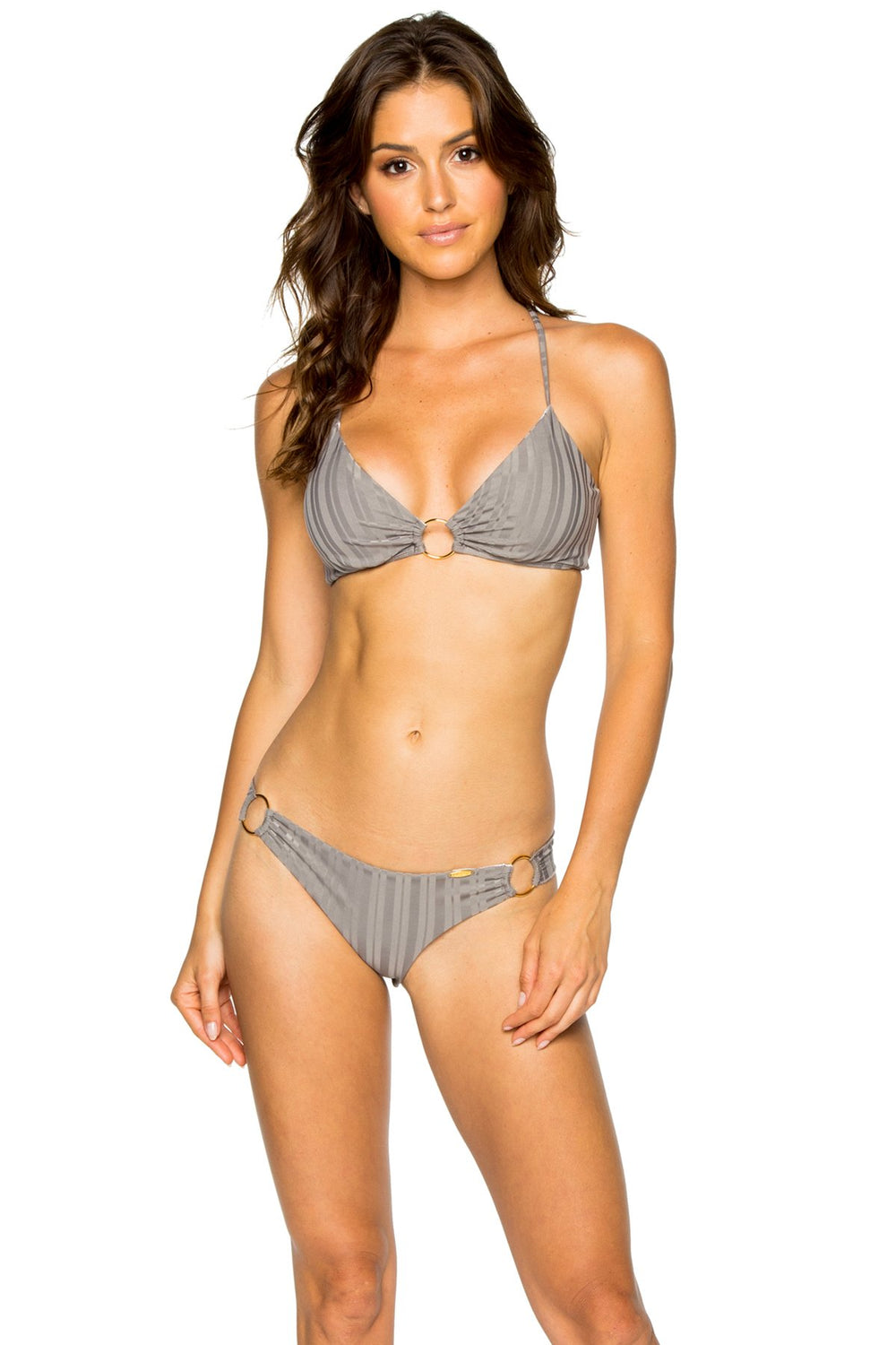 TURI TURAI - Bralette Top & Wavey Ruched Back Brazilian Bottom • Grey