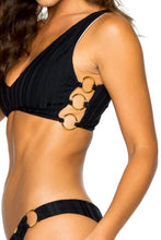 TURI TURAI - Crop Tank Top & Wavey Ruched Back Brazilian Bottom • Black