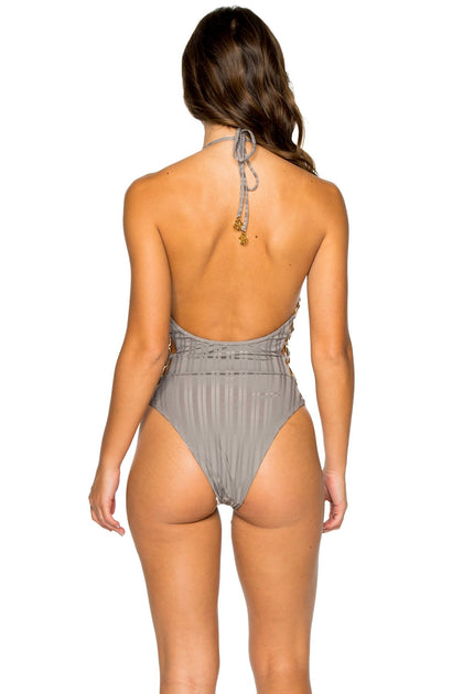 TURI TURAI - Open Side One Piece Bodysuit • Grey