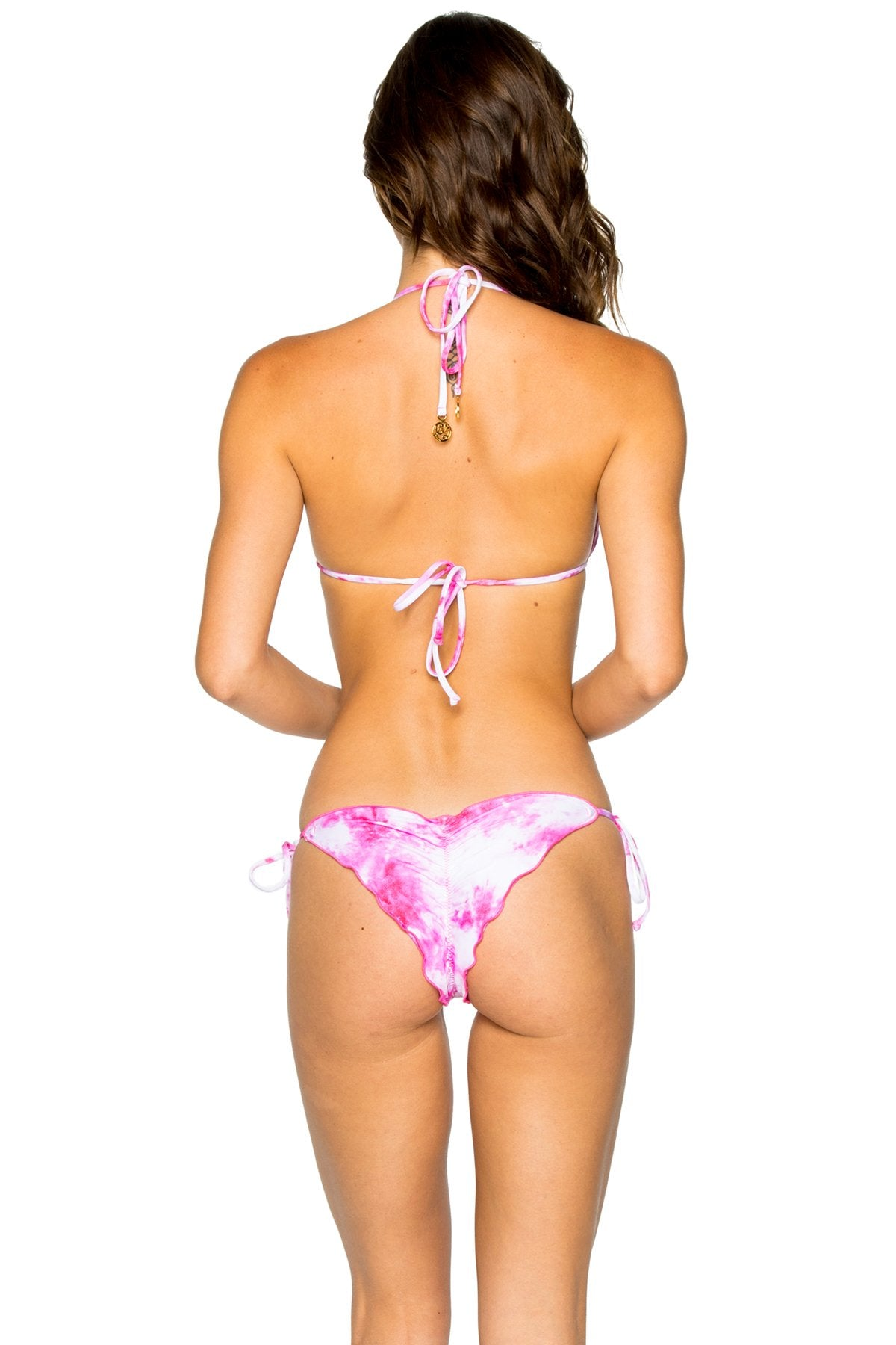 BAMBOLEO - Triangle Top & Wavey Ruched Back Brazilian Tie Side Bottom • Fuchsia