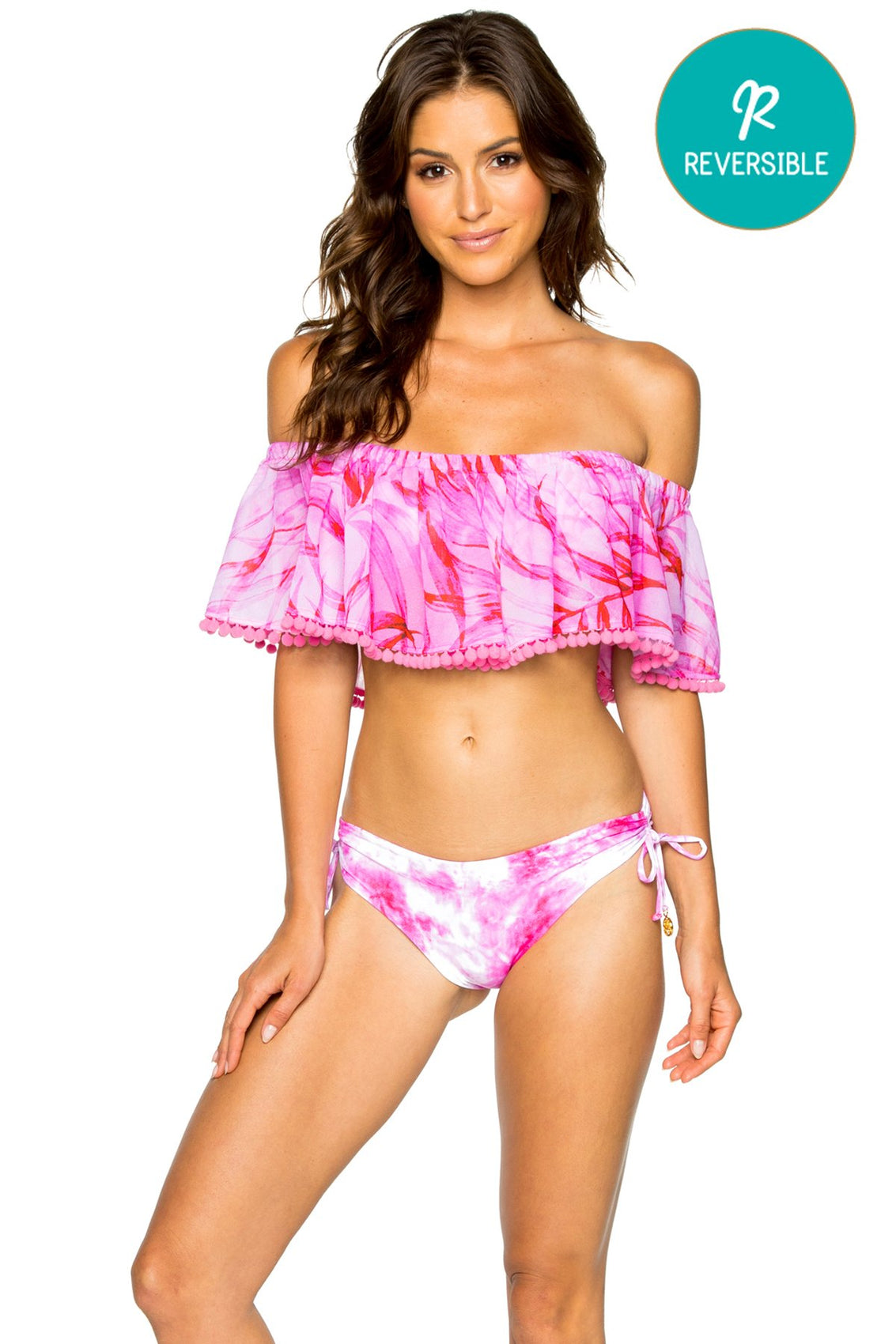 BAMBOLEO - Rosario Top & Drawstring Side Moderate Bottom • Fuchsia