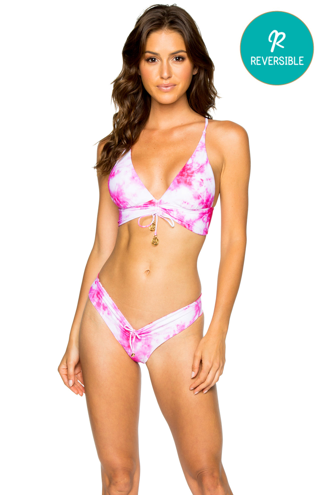 BAMBOLEO - Drawstring Halter Top & Drawstring Ruched Brazilian Bottom • Fuchsia