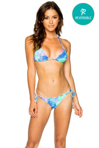 CASA DE LAS SIRENAS - Triangle Top & Wavey Ruched Back Brazilian Tie Side Bottom • Multicolor