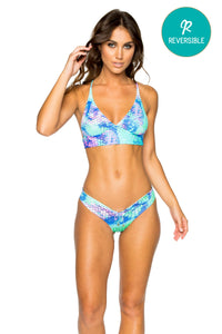 CASA DE LAS SIRENAS - Halter Cross Back Bustier Top & Drawstring Ruched Brazilian Bottom • Multicolor