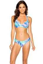 CASA DE LAS SIRENAS - Molded Push Up Bandeau Halter Top & Scrunch Panty Full Bottom • Multicolor