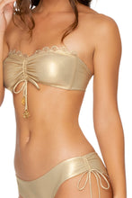 NOCHES DE SEVILLA - Bandeau Top & Drawstring Side Moderate Bottom • Gold Rush