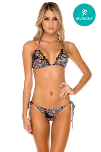 NOCHES DE SEVILLA - Triangle Top & Wavey Ruched Back Brazilian Tie Side Bottom • Multicolor