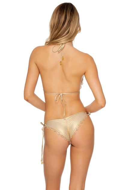 NOCHES DE SEVILLA - Triangle Top & Wavey Ruched Back Brazilian Tie Side Bottom • Gold Rush