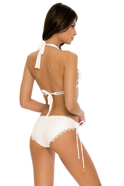 NOCHES DE SEVILLA - Triangle Halter Top & Drawstring Side Full Bottom • White
