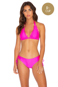 NOCHES DE SEVILLA - Triangle Halter Top & Drawstring Side Full Bottom • Poppin Pink