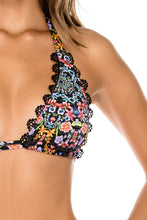 NOCHES DE SEVILLA - Triangle Halter Top & Drawstring Side Full Bottom • Multicolor