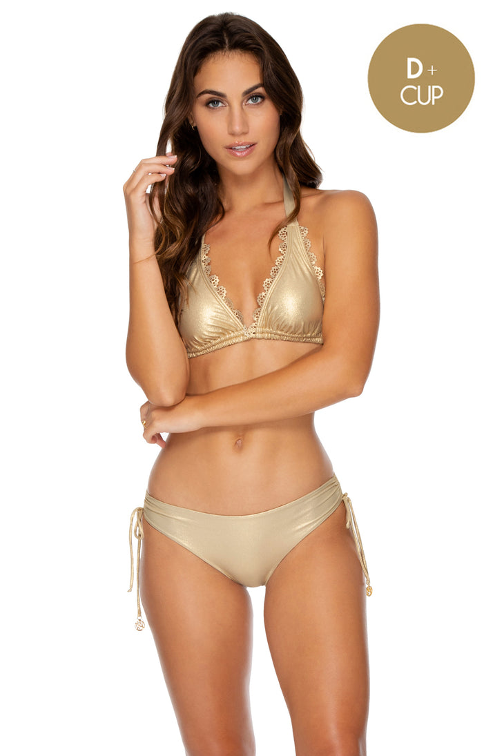 NOCHES DE SEVILLA - Triangle Halter Top & Drawstring Side Full Bottom • Gold Rush
