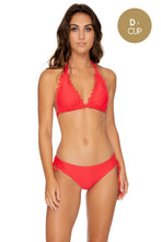 NOCHES DE SEVILLA - Triangle Halter Top & Drawstring Side Full Bottom • Rojo