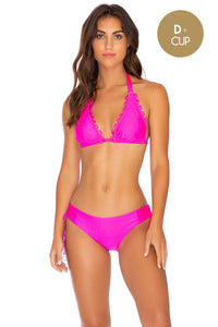 NOCHES DE SEVILLA - Triangle Halter Top & Drawstring Side Moderate Bottom • Poppin Pink