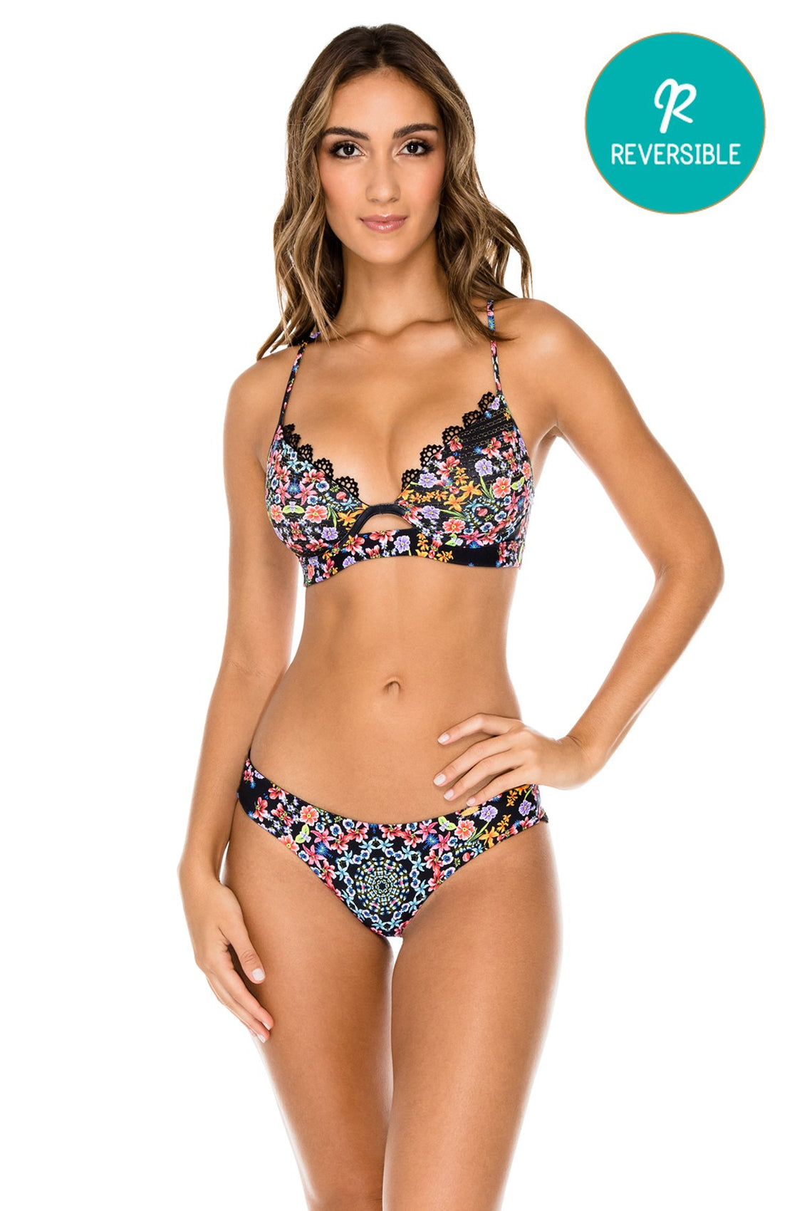 NOCHES DE SEVILLA - Underwire Top & Wavey Ruched Back Brazilian Bottom • Multicolor