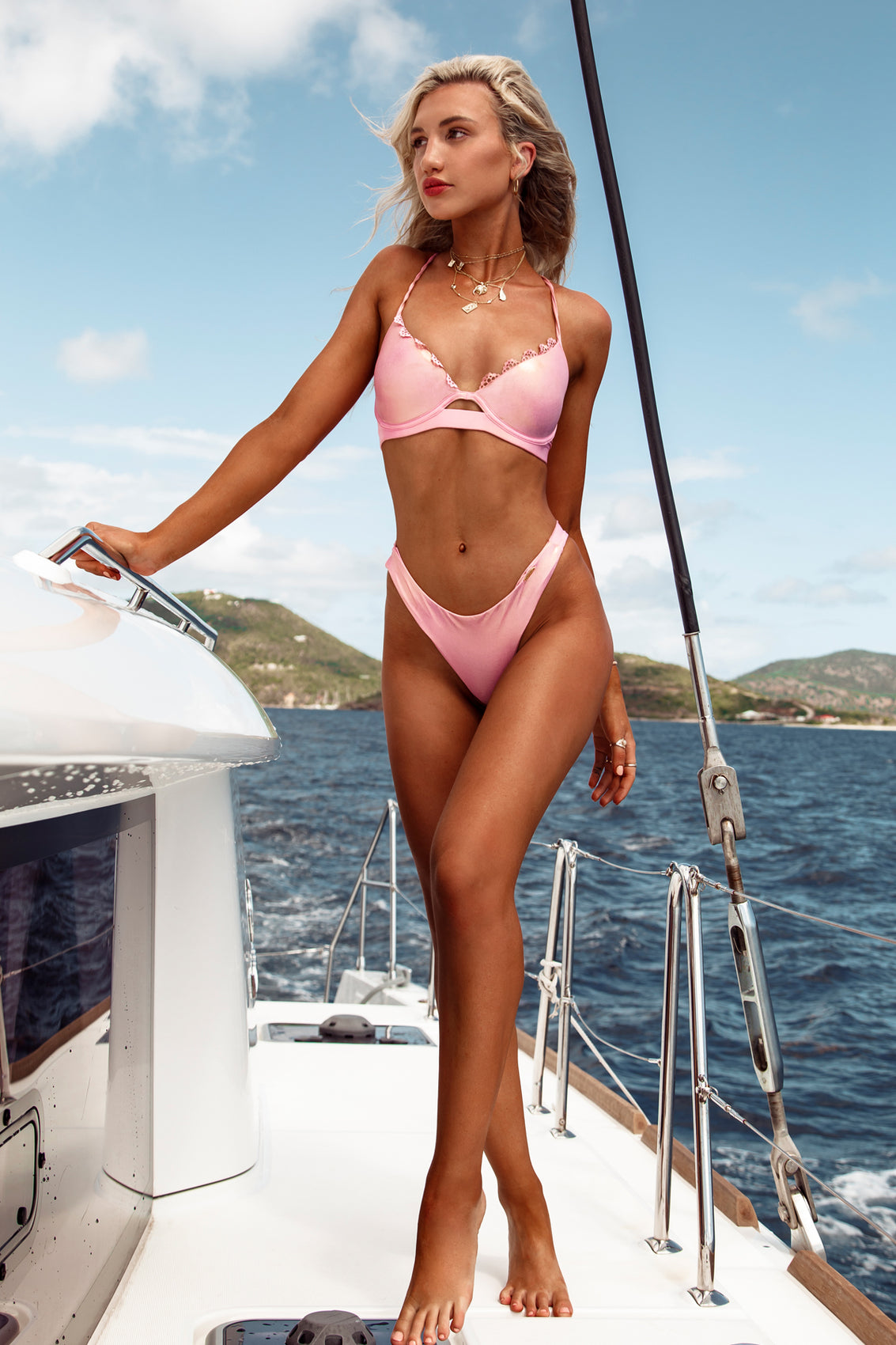 NOCHES DE SEVILLA - Underwire Top & Seamless Wavey Ruched Back Bottom • Rose Champagne BVI