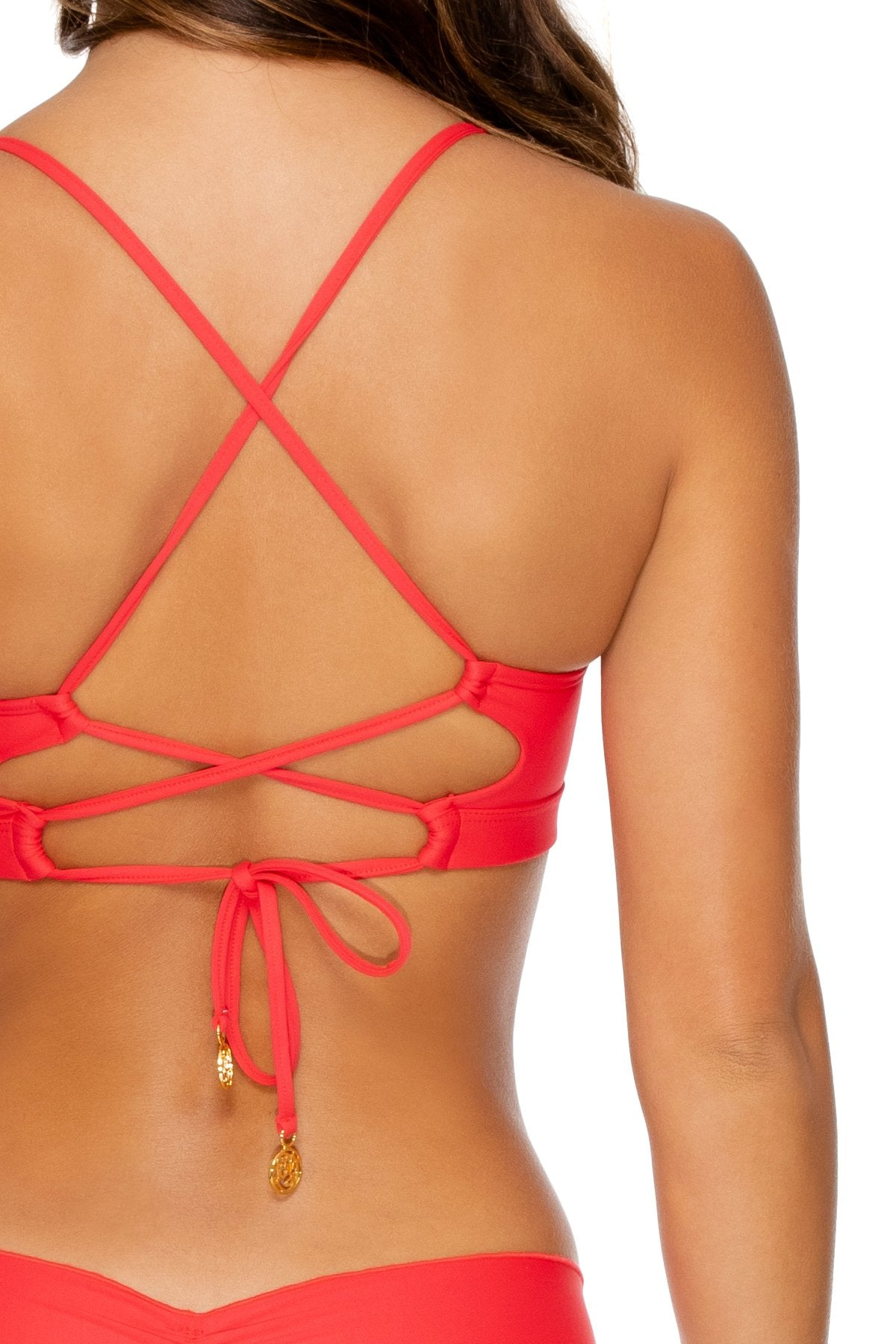 NOCHES DE SEVILLA - Underwire Top & Wavey Ruched Back Brazilian Bottom • Rojo