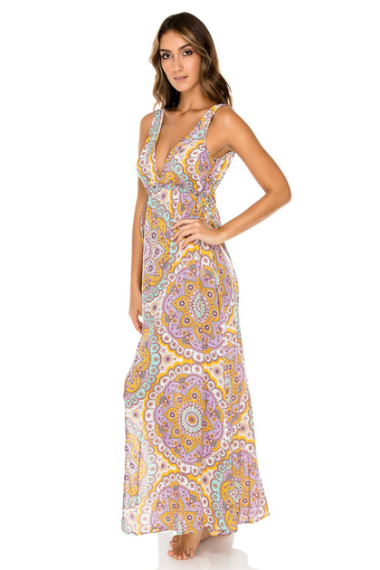 ALHAMBRA - V Neck Long Dress • Lavanda
