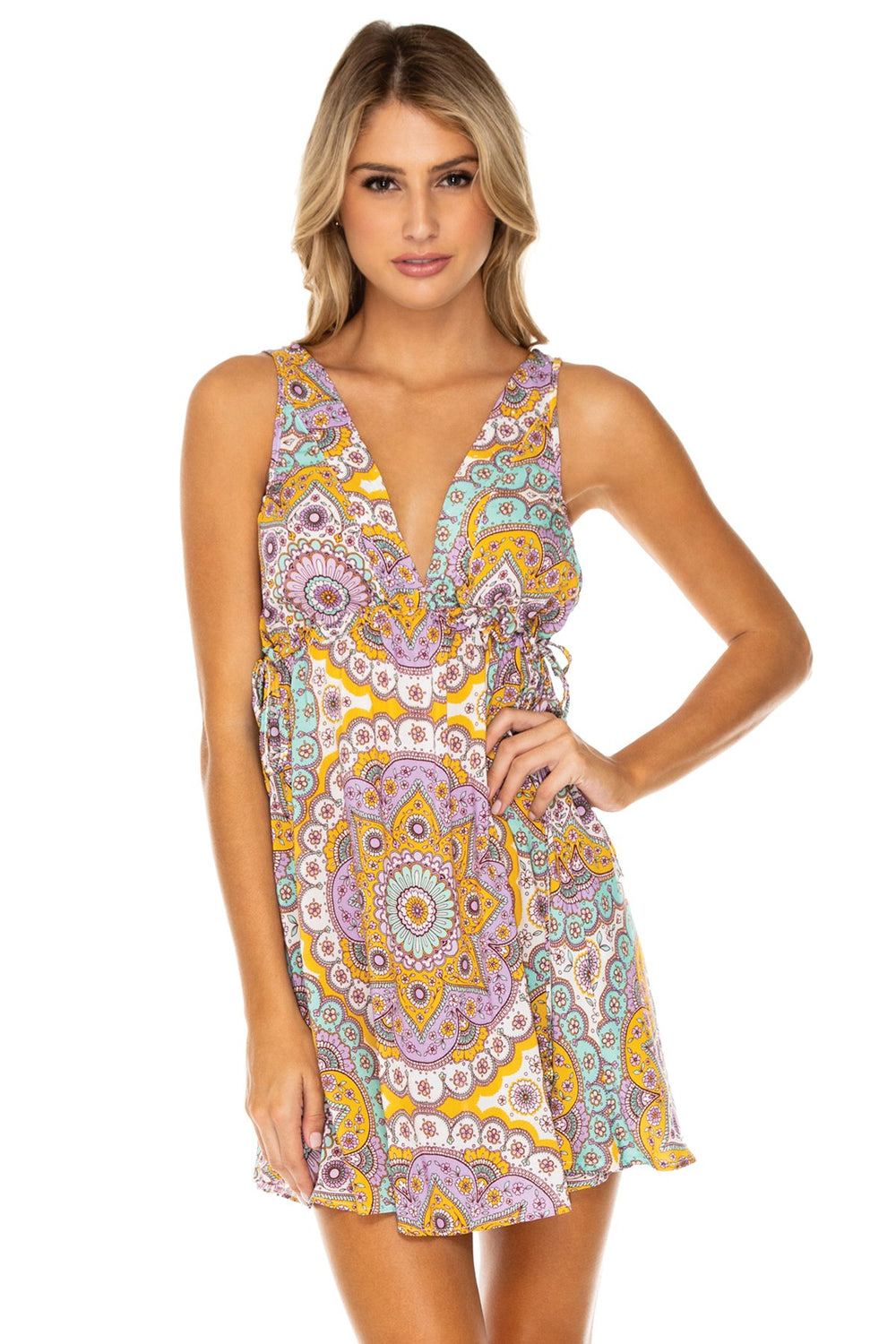 ALHAMBRA - V Neck Short Dress • Lavanda