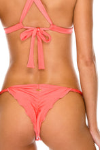 AMOR Y MIEL - Adjustable Back Halter Top & Baracoa Brazilian Bottom • Coral