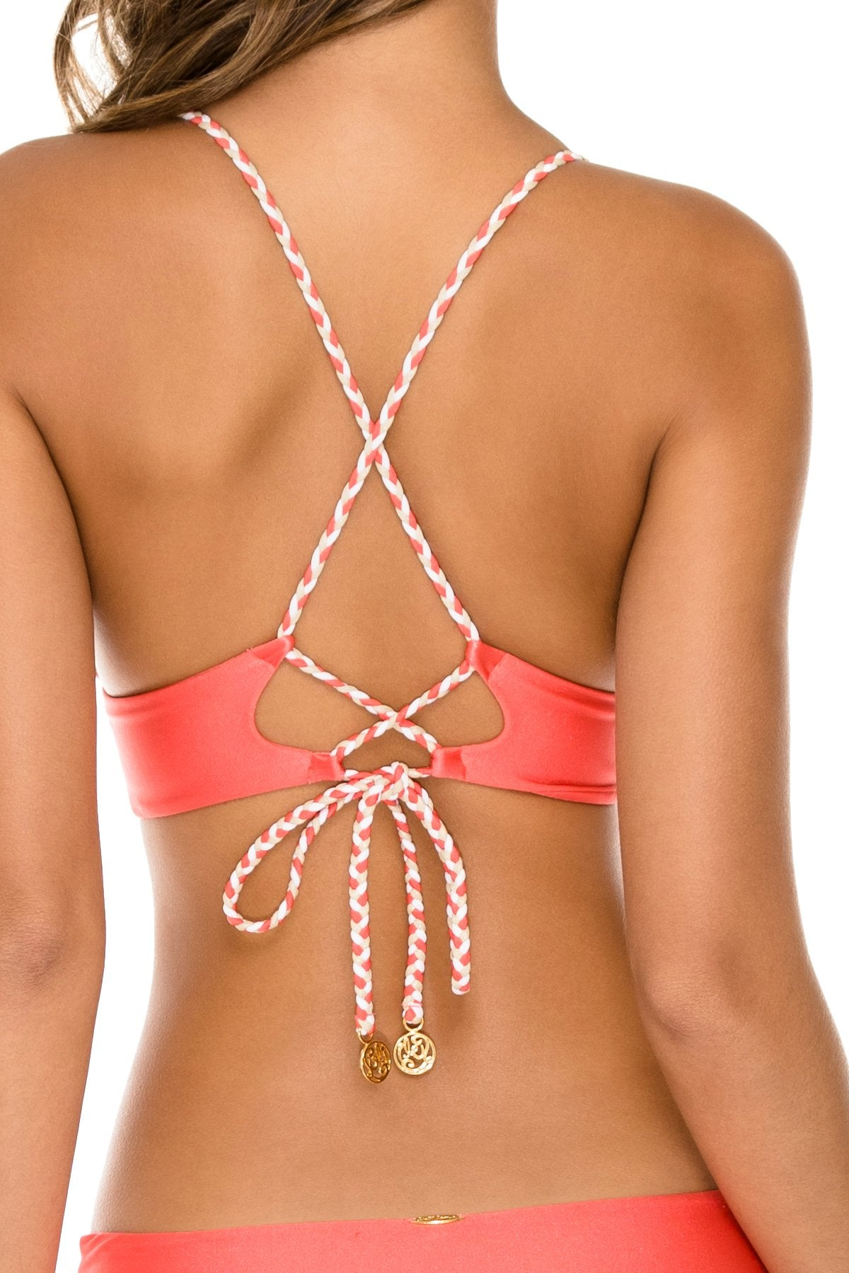 AMOR Y MIEL - Cross Back Bustier Top & Moderate Bottom • Coral