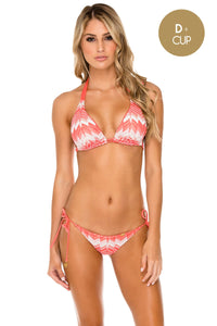 AMOR Y MIEL - Triangle Halter Top & Wavey Ruched Back Full Tie Side Bottom • Coral