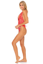 CORAZON DE SEDA - Deep V Crossed Back One Piece • Scarlet