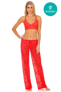 CORAZON DE SEDA - Cross Back Bustier Top & Beach Pant • Scarlet