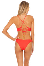 CORAZON DE SEDA - Cross Back Bustier Top & Band Moderate Bottom • Scarlet