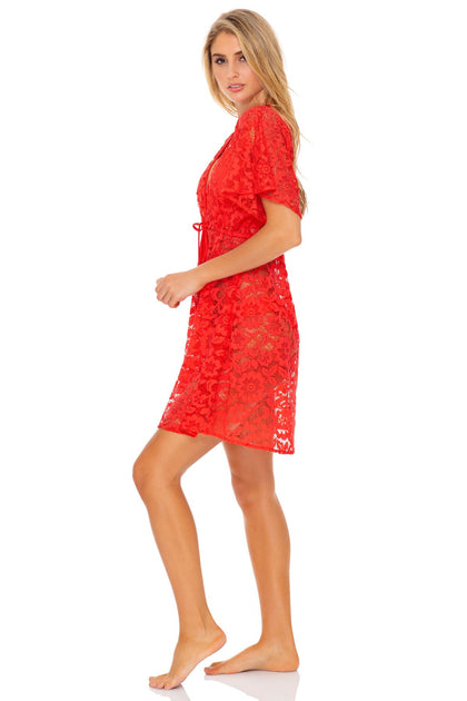 CORAZON DE SEDA - Deep V Basic Short Tunic • Scarlet