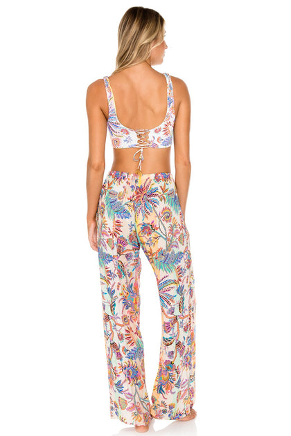 ALCAZAR - Tank Bralette & Flare Bottom Pants • Multicolor