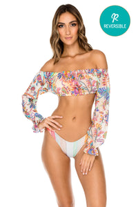 ALCAZAR - Shoulder Crop Top & High Leg Brazilian Bottom • Multicolor