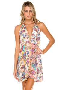 ALCAZAR - Deep Plunge Mini Dress • Multicolor