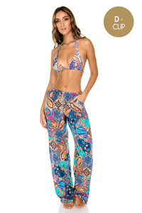 WAPISIMA - Triangle Halter Top & Split Side Wide Leg Pant • Multicolor