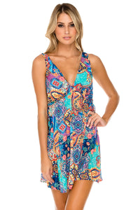 WAPISIMA - V Neck Short Dress • Multicolor