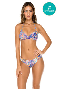 WAPISIMA - Halter Top & Wavey Ruched Back Brazilian Bottom • Multicolor