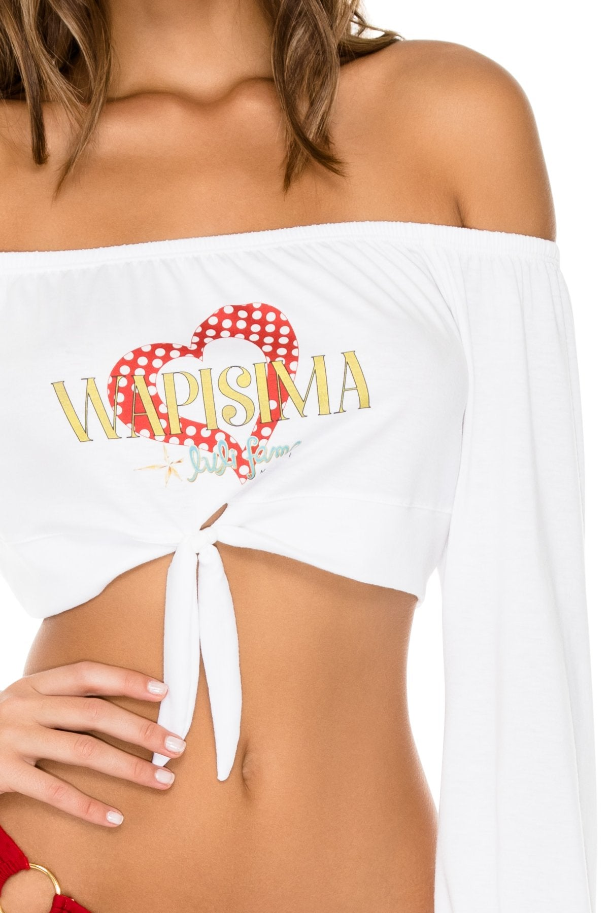 WAPISIMA - Off The Shoulder Top & Wavey Ruched Back Brazilian Bottom • Multicolor