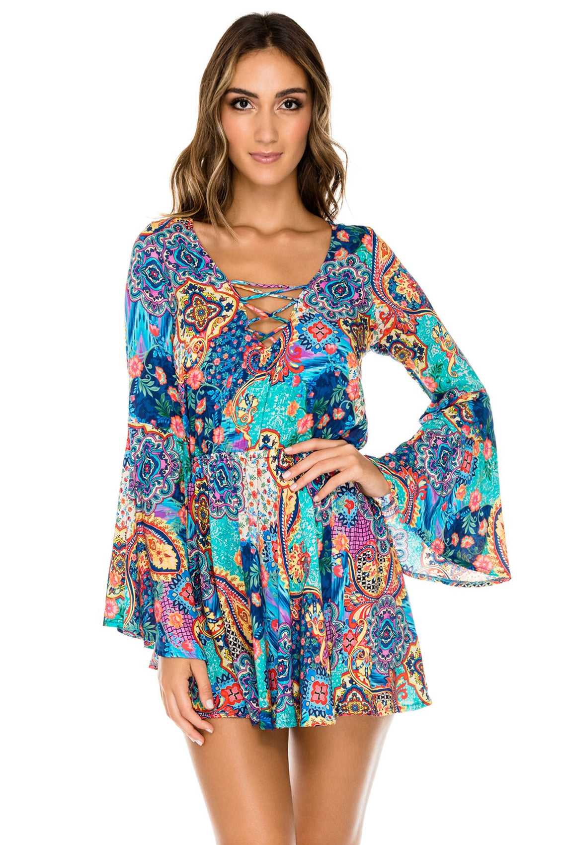 WAPISIMA - Bell Sleeve Dress • Multicolor