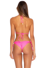 TRIANA - Triangle Top & Wavey Ruched Back Tie Side Bottom • Neon Pink