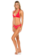 TRIANA - Triangle Halter Top & Drawstring Ruched Brazilian Bottom • Rojo