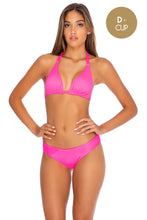 TRIANA - Triangle Halter Top & Full Bottom • Neon Pink