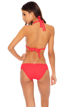 TRIANA - Triangle Halter Top & Full Bottom • Flamingo