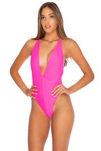 TRIANA - Deep V Crossed Back One Piece • Neon Pink